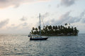 Sailing with beautiful sunset near paradise island, San Blas Royalty Free Stock Photo