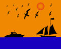 Sailing boat albatrosses to orange blue background Royalty Free Stock Photo