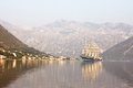 Sailing boat in Bay of Kotor,Montenegro Royalty Free Stock Images