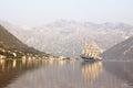 Sailing boat in Bay of Kotor,Montenegro Royalty Free Stock Images