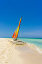 Sailing boat on a beautiful beach in cuba the white sands of varadero summer day Royalty Free Stock Photo