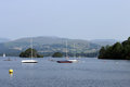 Sailing boat boats on lake windermere england Stock Photo