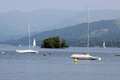 Sailing boat boats on lake windermere england Royalty Free Stock Photography