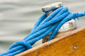 Sailing boat detail from the capstan rope sailing closeup Stock Photo