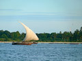 Sailing boat drifting in the indian ocean tanzania africa Royalty Free Stock Images