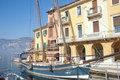 Sailing boat in the harbor of Malcesine Royalty Free Stock Image