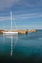 Sailing boat in the harbor of svaneke on bornholm denmark Stock Image