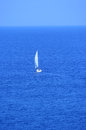 Sailing boat heading to the sea yacht Royalty Free Stock Images