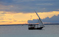 Sailing boat inn zanzibar in the evening in Stock Photo