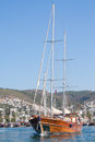 Sailing boat leaving Bodrum Marina, Turkey Royalty Free Stock Photo