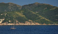 Sailing boat nearby isle of elba italy see view with ship Royalty Free Stock Photos