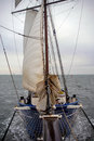 Sailing boat on Nothern Sea sails wind water storm front view Royalty Free Stock Photo