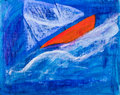 Sailing boat racing painting by Kay Gale Stock Photo