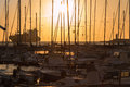 Sailing Boat`s Masts: Dock Seaside Royalty Free Stock Photo