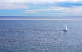 Sailing boat on the sea and blue sky Stock Photography