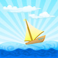 Sailing boat on the sea illustration of single with ray and clouds Royalty Free Stock Images