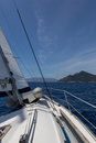 Sailing boat on sea with wind Royalty Free Stock Photo