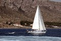 Sailing boat sloop close to alicante coast Stock Image