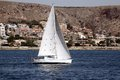 Sailing boat sloop close to alicante coast Royalty Free Stock Photos