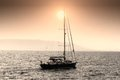 Sailing boat sloop close to alicante coast Stock Images