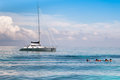 Sailing boat with snorkeling activities Royalty Free Stock Photo