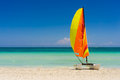 Sailing boat on varadero beach in cuba colorful catamaran the white sands of Royalty Free Stock Photo