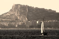 Sailing boat vintage image sloop close to alicante coast Royalty Free Stock Images