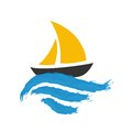 Sailing boat on the water vector icon Stock Photography