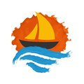 Sailing boat on the water vector icon Stock Images