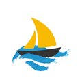 Sailing boat on the water vector icon Royalty Free Stock Image