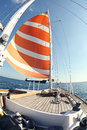 Sailing boat on the water yachting Stock Image