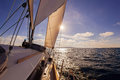 Sailing boat wide angle view in the sea Royalty Free Stock Photo