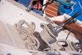 Sailing boat winch with a main sail Royalty Free Stock Photo