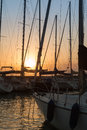 Sailing Boat& x27;s Masts: Dock Seaside Royalty Free Stock Photo