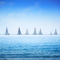 Sailing boat yacht regatta in sea or ocean sailboat group race on water panoramic view Royalty Free Stock Photo