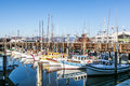 Sailing boats at fishermans wharf san francisco dec on december in san francisco usa gets its name in the mid to Royalty Free Stock Image