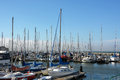 Sailing boats at Fishermans Wharf in SF Royalty Free Stock Photo