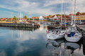 Sailing boats in the harbor of svaneke on bornholm denmark Royalty Free Stock Photography