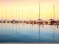 Sailing boats in the marina, lake Balaton Royalty Free Stock Photo