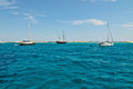 Sailing boats near the coast of the Formentera island Royalty Free Stock Photo
