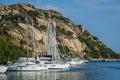Sailing boats at Poltu Quatu resort marina, Sardinia Royalty Free Stock Photo