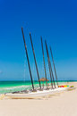 Sailing boats on a seaside marina in cuba the famous beach of varadero Stock Image