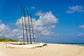 Sailing boats on varadero beach in cuba with some puffy clouds a blue sky Stock Photo
