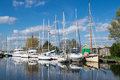 Sailing boats and yachts moored on the exeter canal at turf lock Stock Photography