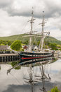 Sailing brig ts royalist docked at the moorings above neptunes staircase at the loch linnhe end of the caladonian canal at banavie Royalty Free Stock Photo