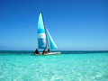 Sailing at the caribbean sea Royalty Free Stock Photo
