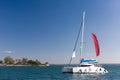 Sailing in carribean catamaran the cuba Royalty Free Stock Photos