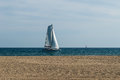 Sailing catamaran small on the ocean Stock Image