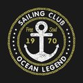 Sailing Club grunge typography for design clothes, t-shirts with anchor and rope. Vintage graphics for print product, apparel.