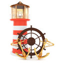 Sailing concept lighthouse with anchors and helm on white d Royalty Free Stock Images
